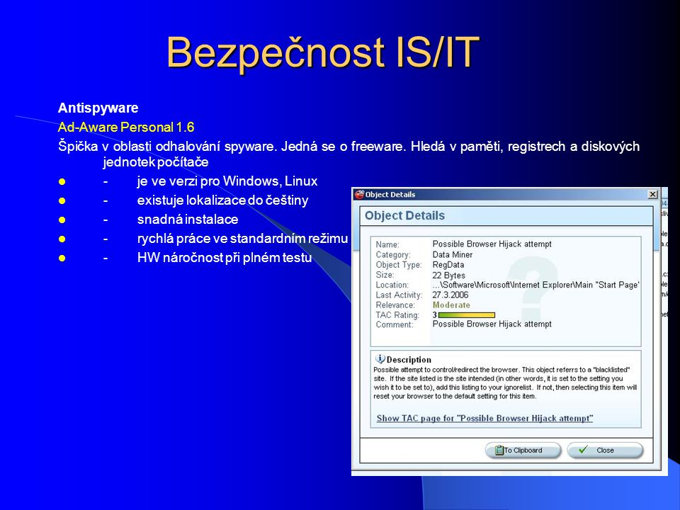 Bezpečnost IS/IT Antispyware Ad-Aware Personal 1.6