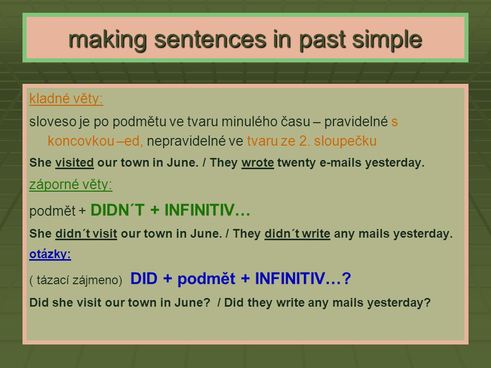 making sentences in past simple