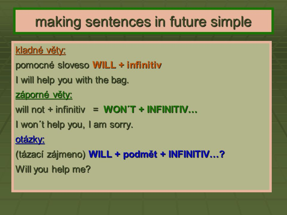 making sentences in future simple