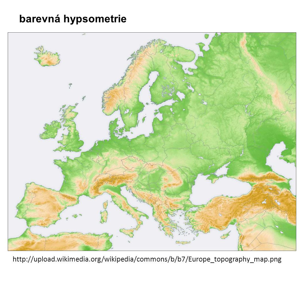 barevná hypsometrie http://upload.wikimedia.org/wikipedia/commons/b/b7/Europe_topography_map.png
