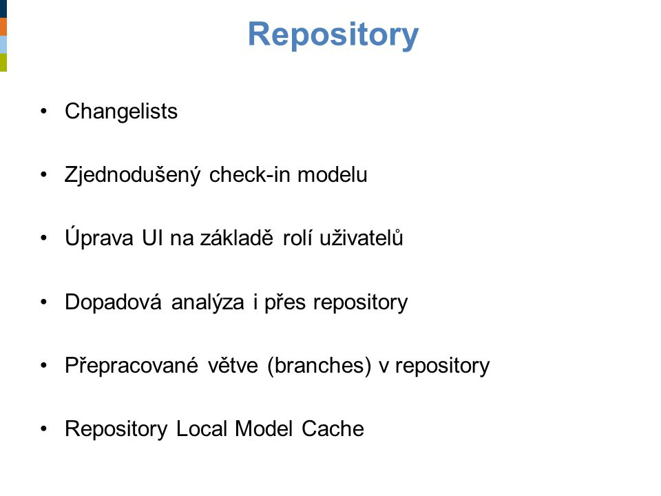 Repository Changelists Zjednodušený check-in modelu