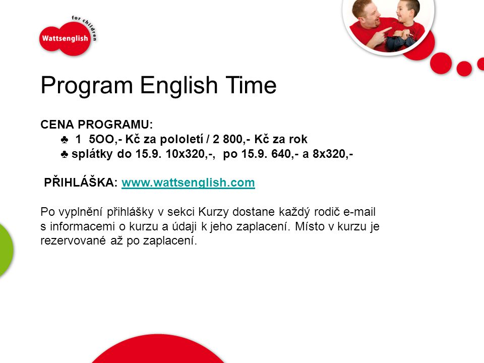 Program English Time   CENA PROGRAMU: