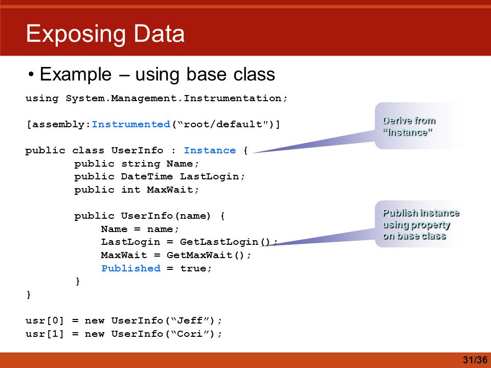Exposing Data Example – using base class