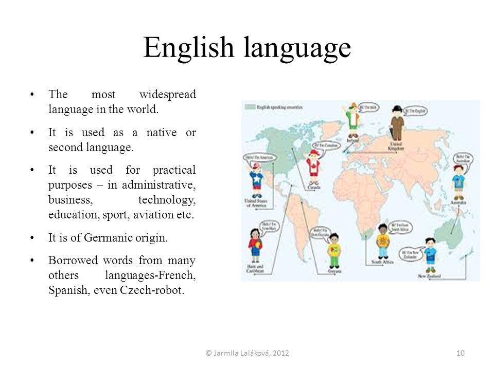 English language The most widespread language in the world.