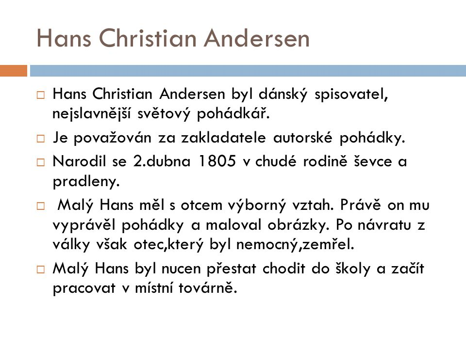 Hans Christian Andersen Ppt Stahnout