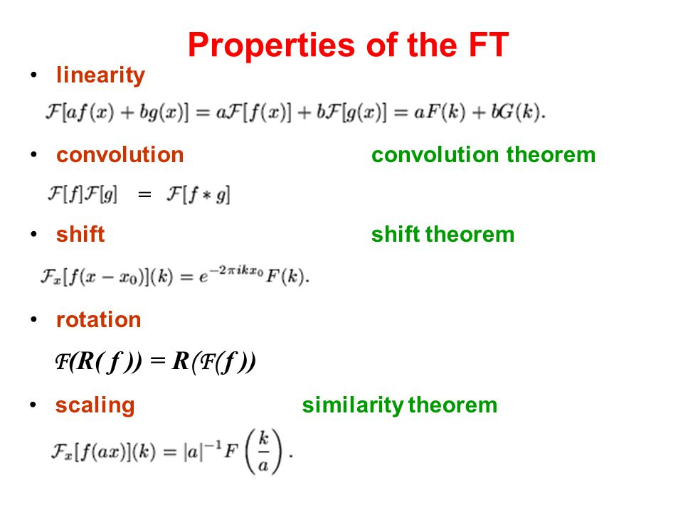 Properties of the FT F(R( f )) = R(F( f )) linearity