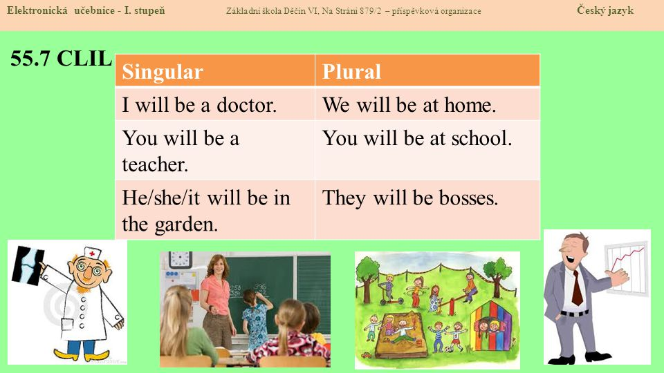 55.7 CLIL Singular Plural I will be a doctor. We will be at home.