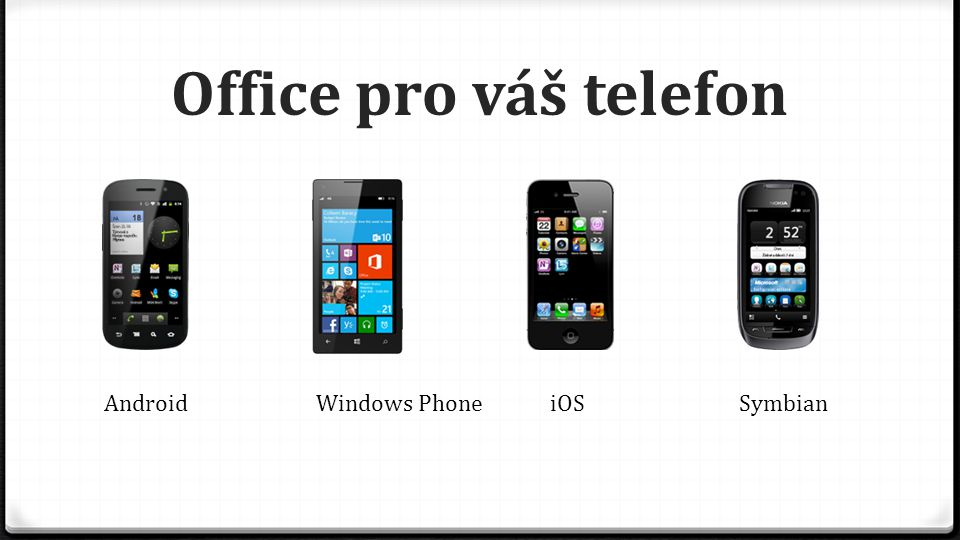 Office pro váš telefon Android Windows Phone iOS Symbian