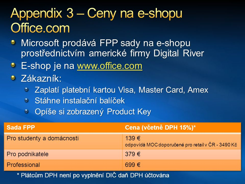 Appendix 3 – Ceny na e-shopu Office.com