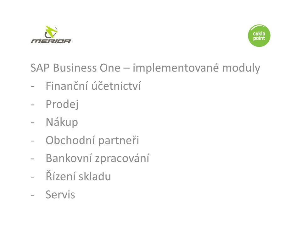 SAP Business One – implementované moduly