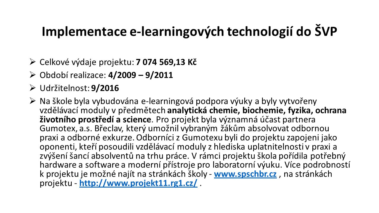 Implementace e-learningových technologií do ŠVP