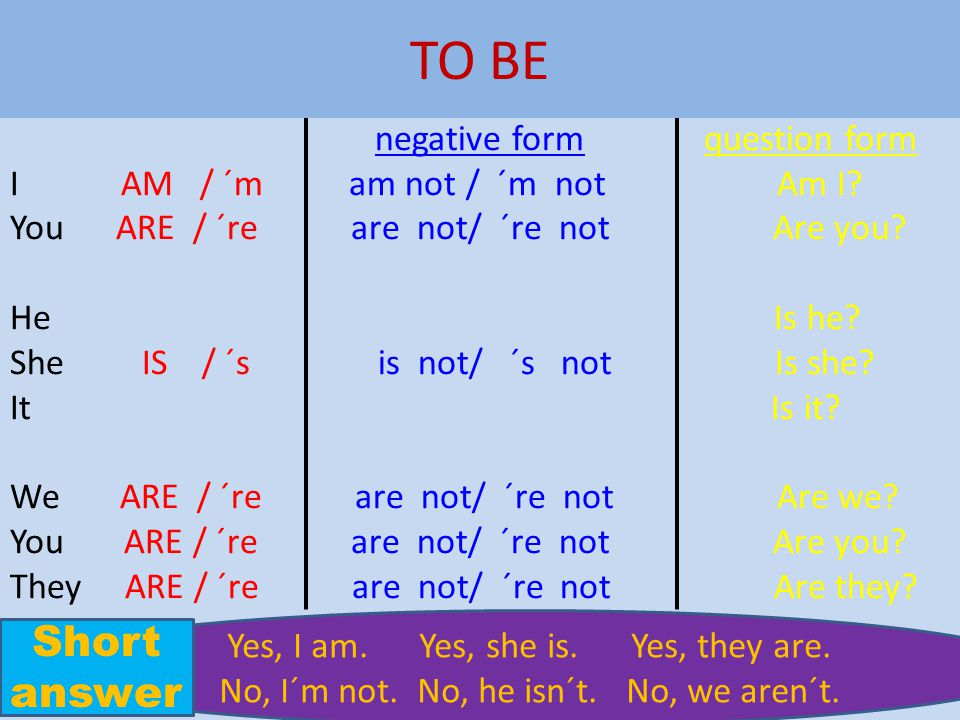 TO BE Short answer negative form question form