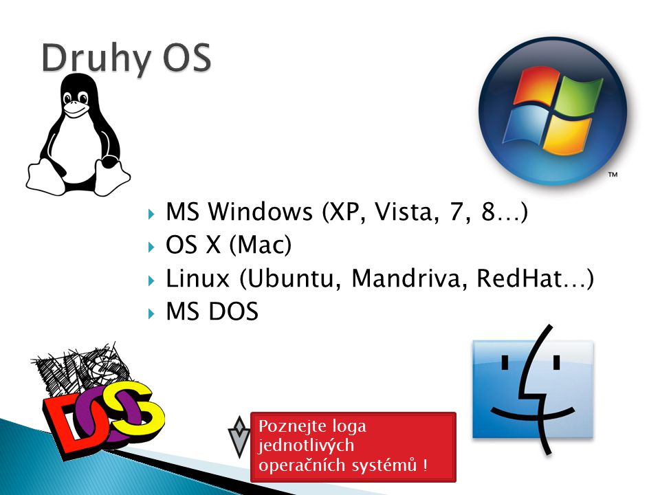 Druhy OS MS Windows (XP, Vista, 7, 8…) OS X (Mac)