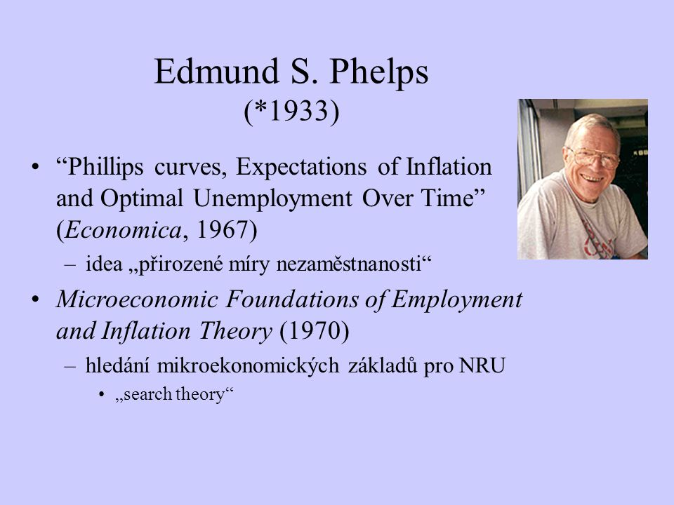 Edmund S. Phelps (*1933) Phillips curves, Expectations of Inflation and Optimal Unemployment Over Time (Economica, 1967)