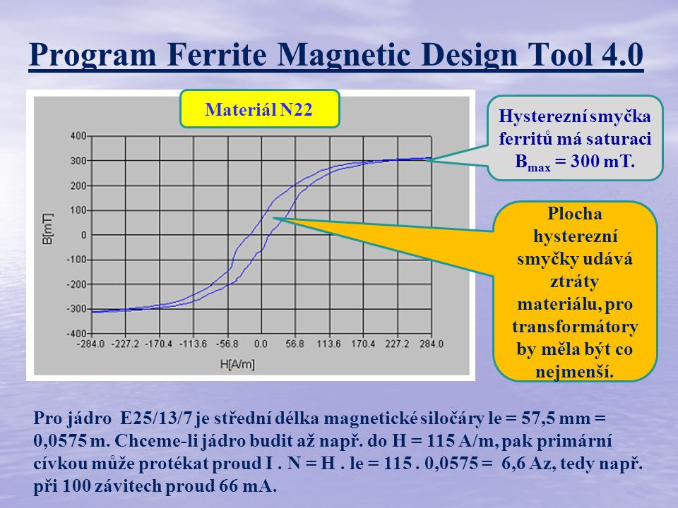 Program Ferrite Magnetic Design Tool 4.0