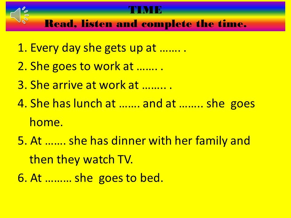 TIME Read, listen and complete the time.