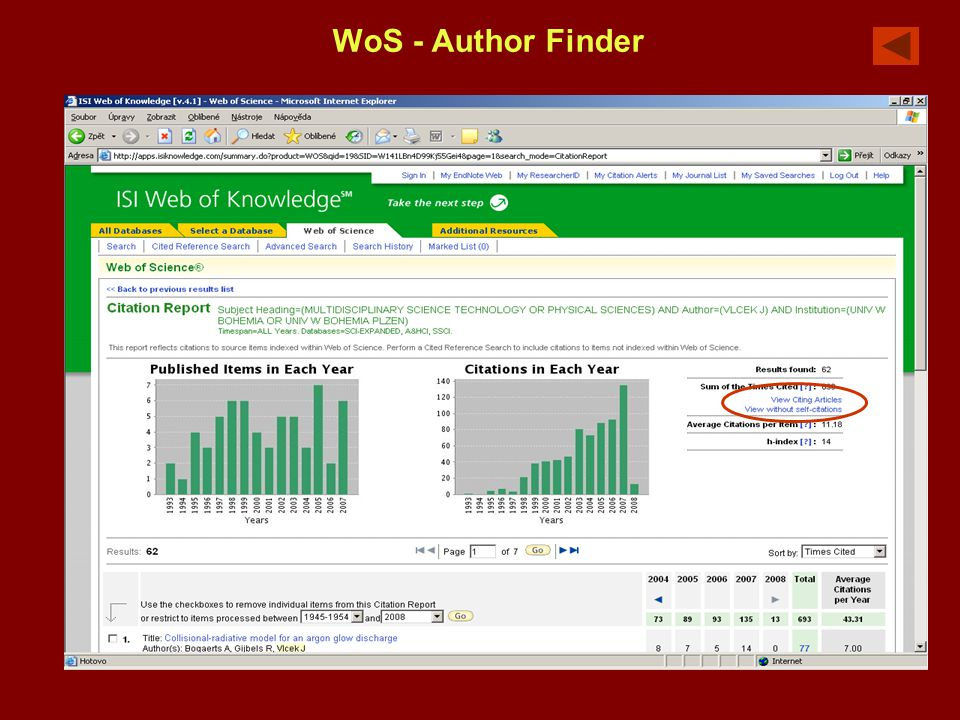 WoS - Author Finder