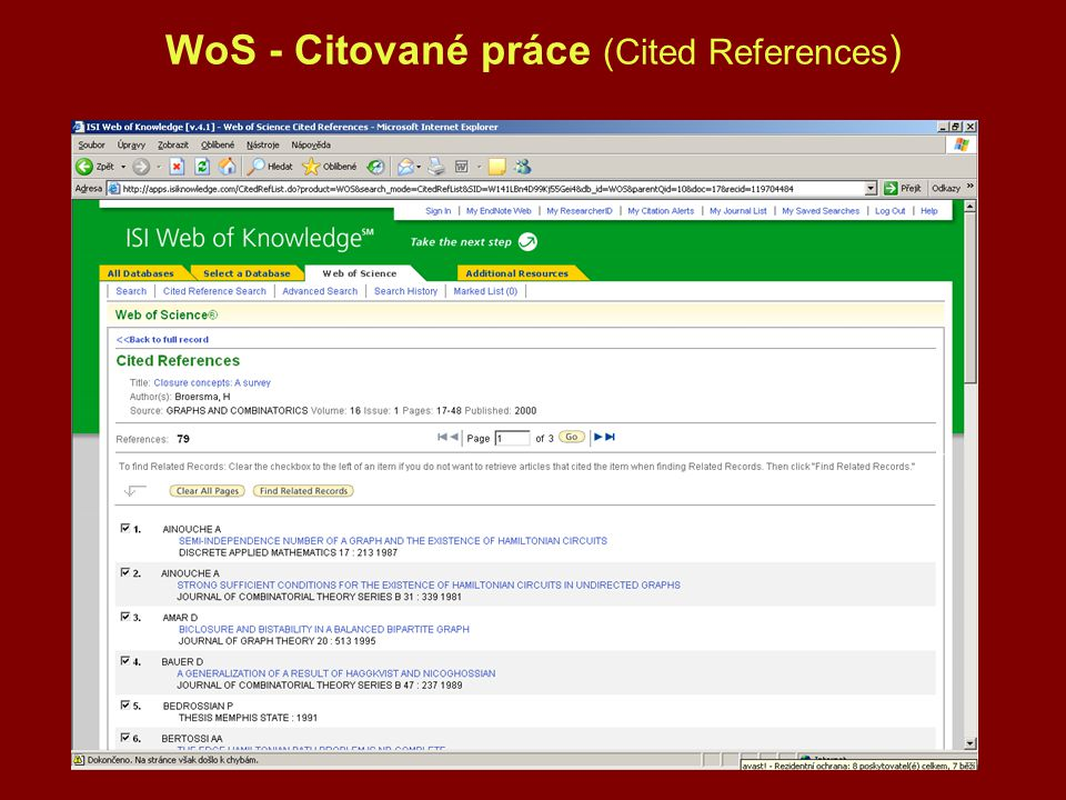 WoS - Citované práce (Cited References)
