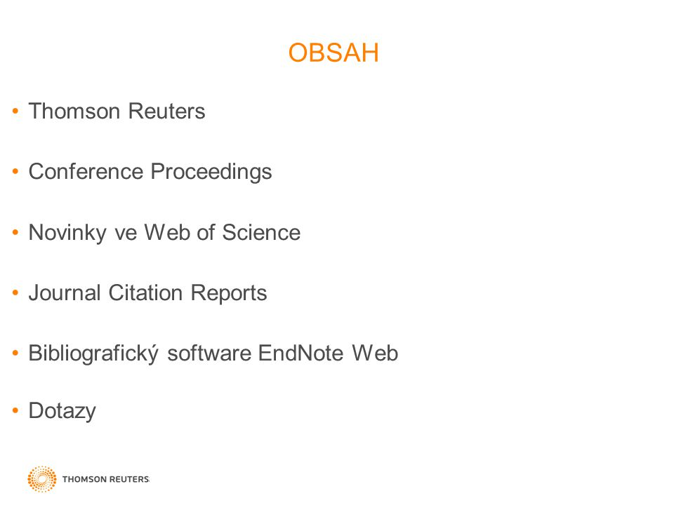 OBSAH Thomson Reuters Conference Proceedings Novinky ve Web of Science