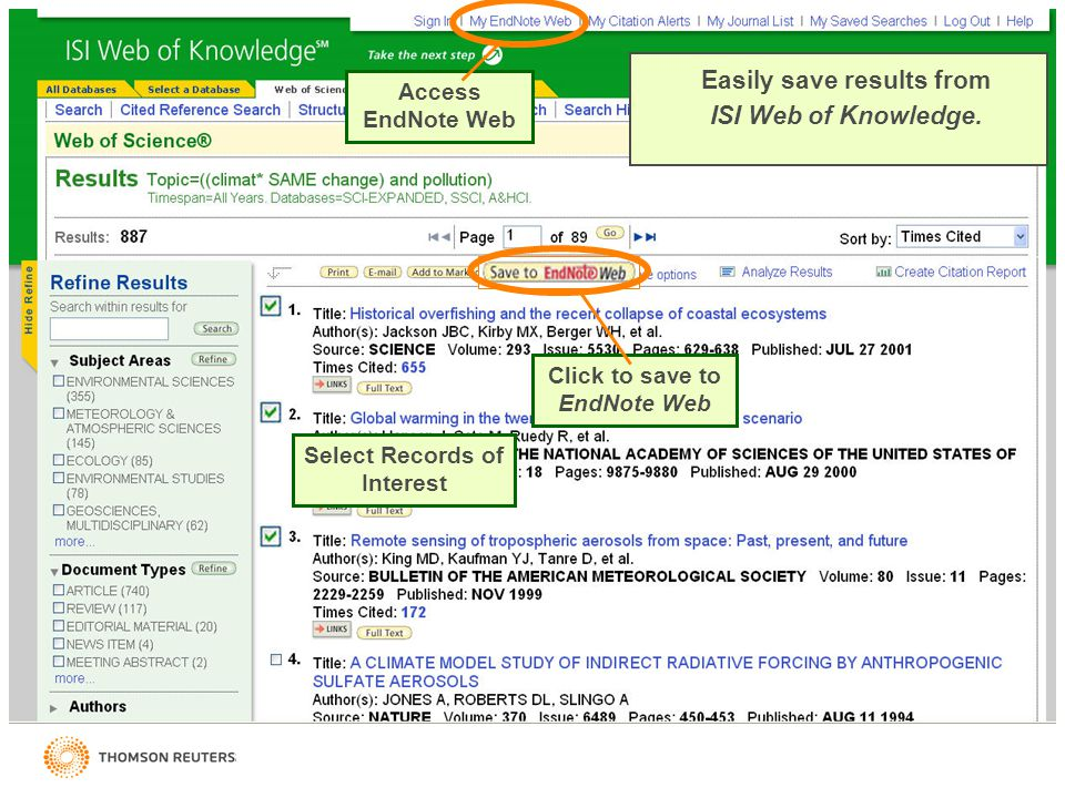 Easily save results from ISI Web of Knowledge.