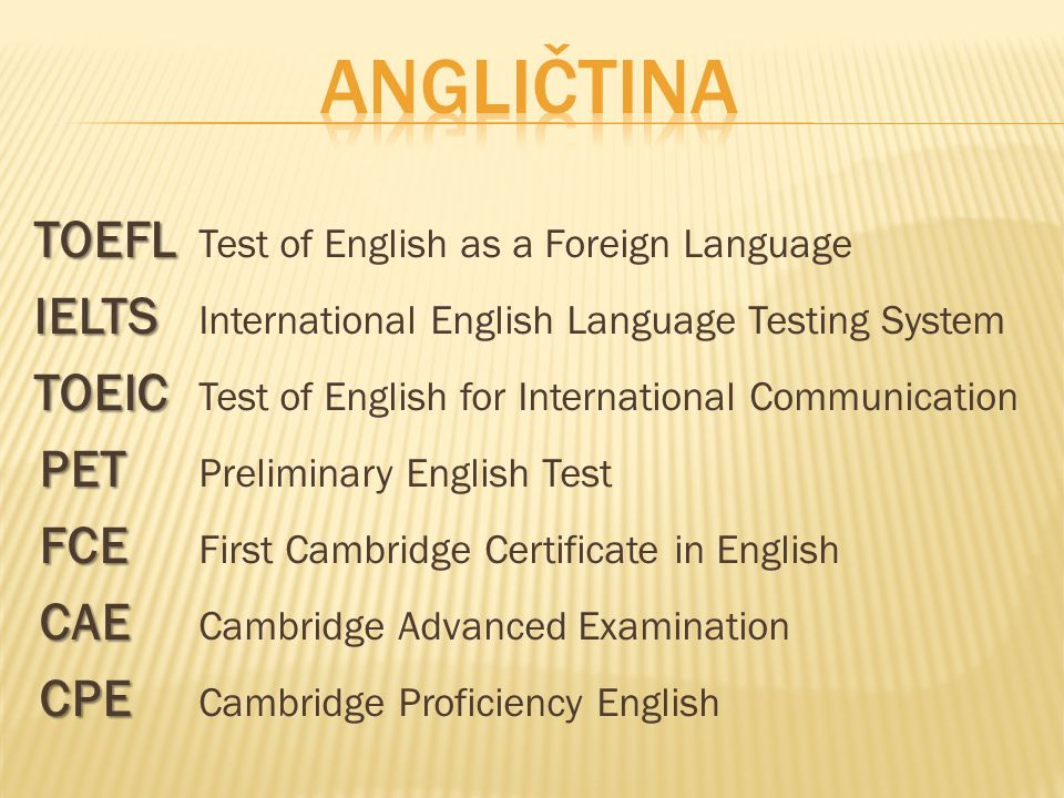 Angličtina PET Preliminary English Test