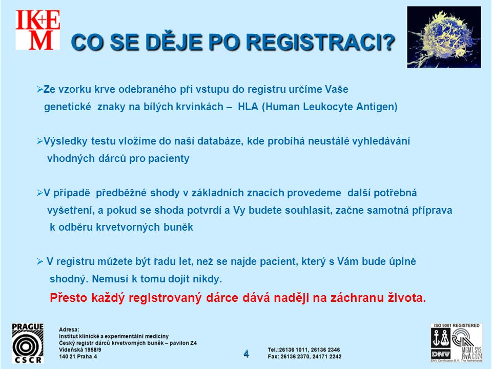 CO SE DĚJE PO REGISTRACI