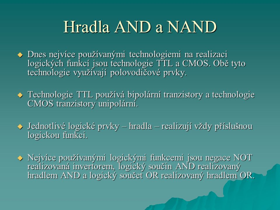 Hradla AND a NAND