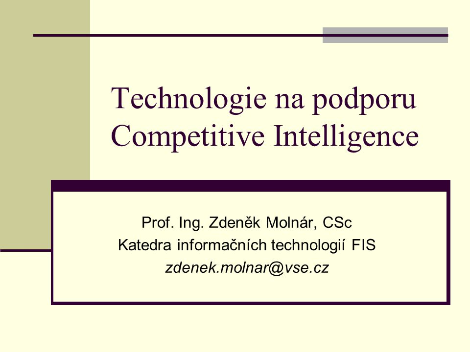 Technologie na podporu Competitive Intelligence