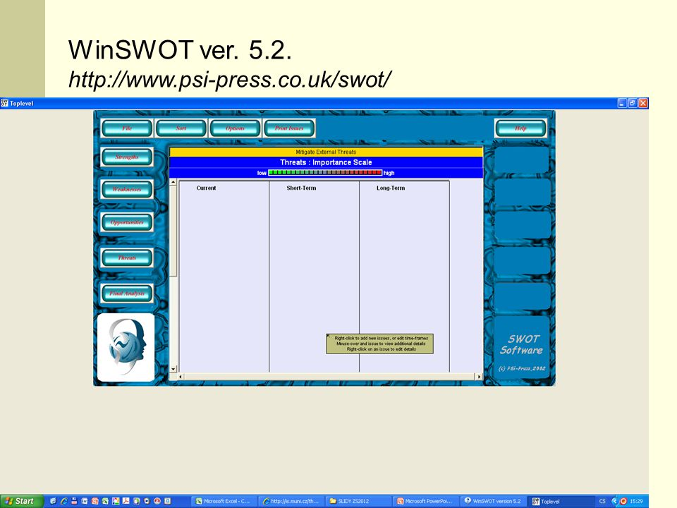 WinSWOT ver. 5.2. http://www.psi-press.co.uk/swot/ CI 2011