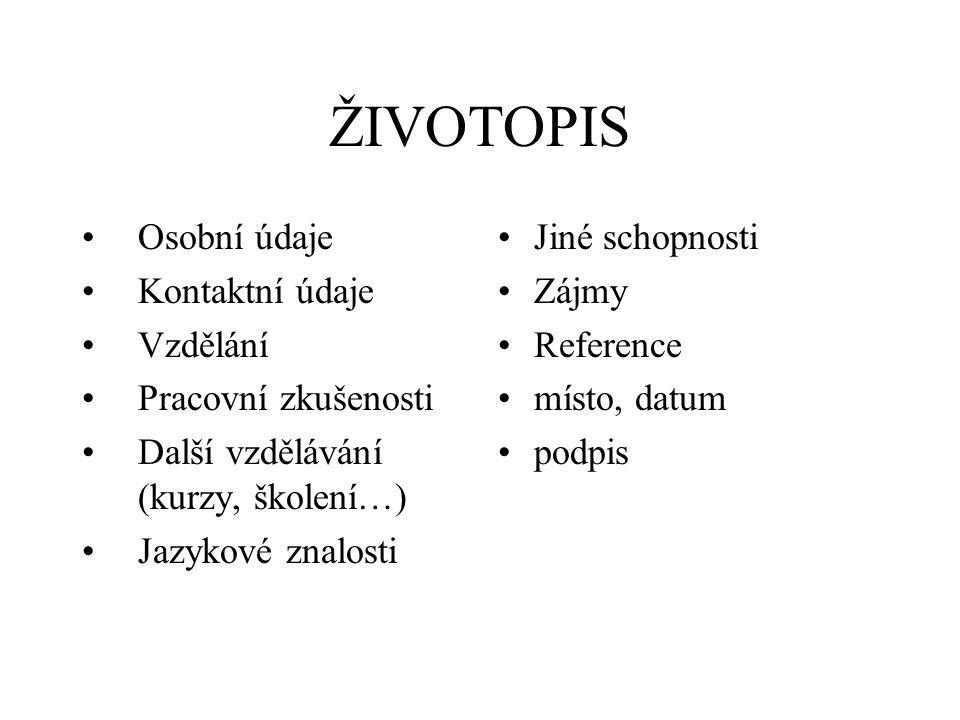 Zivotopis Osobni Udaje Kontaktni Udaje Vzdelani Pracovni Zkusenosti
