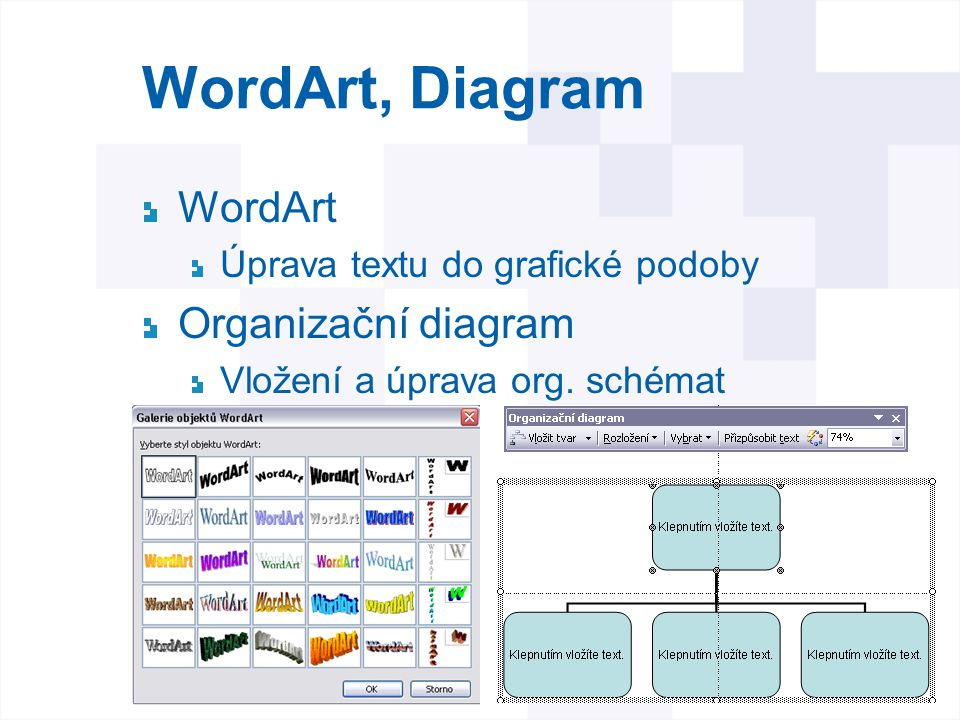 WordArt, Diagram WordArt Organizační diagram