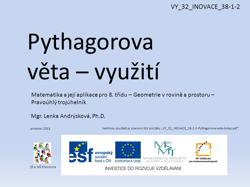Pythagorova Veta Vyuziti Vy 32 Inovace Ppt Stahnout