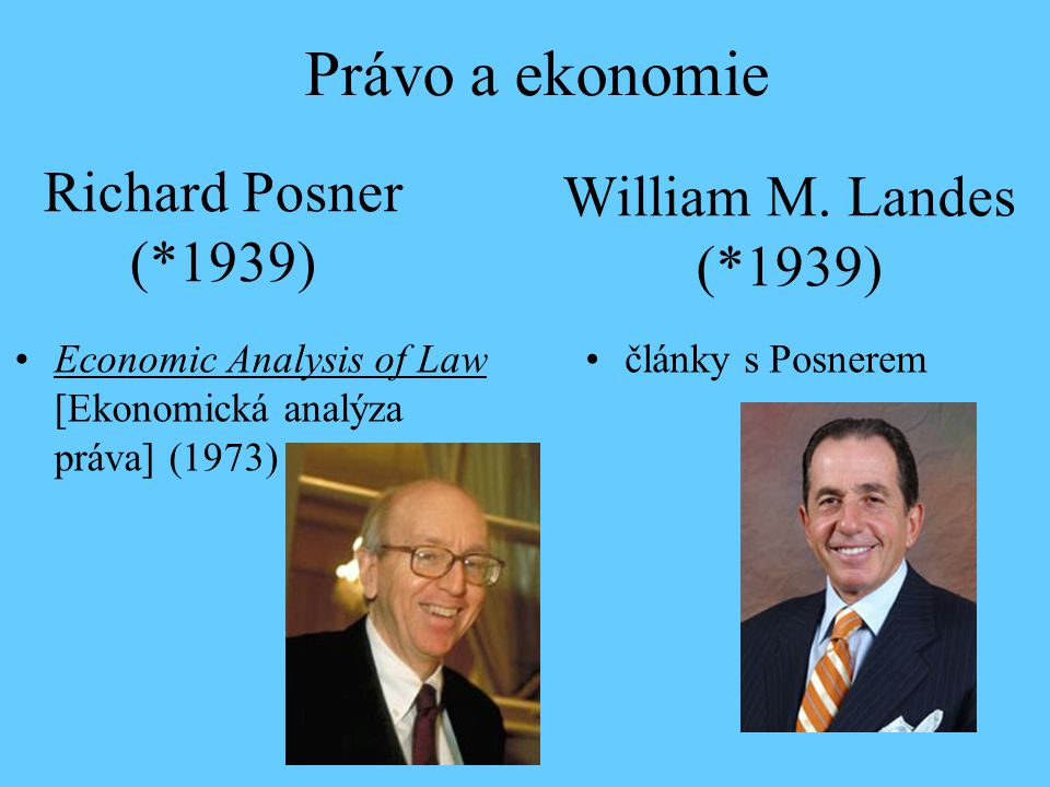 Právo a ekonomie Richard Posner (*1939) William M. Landes (*1939)