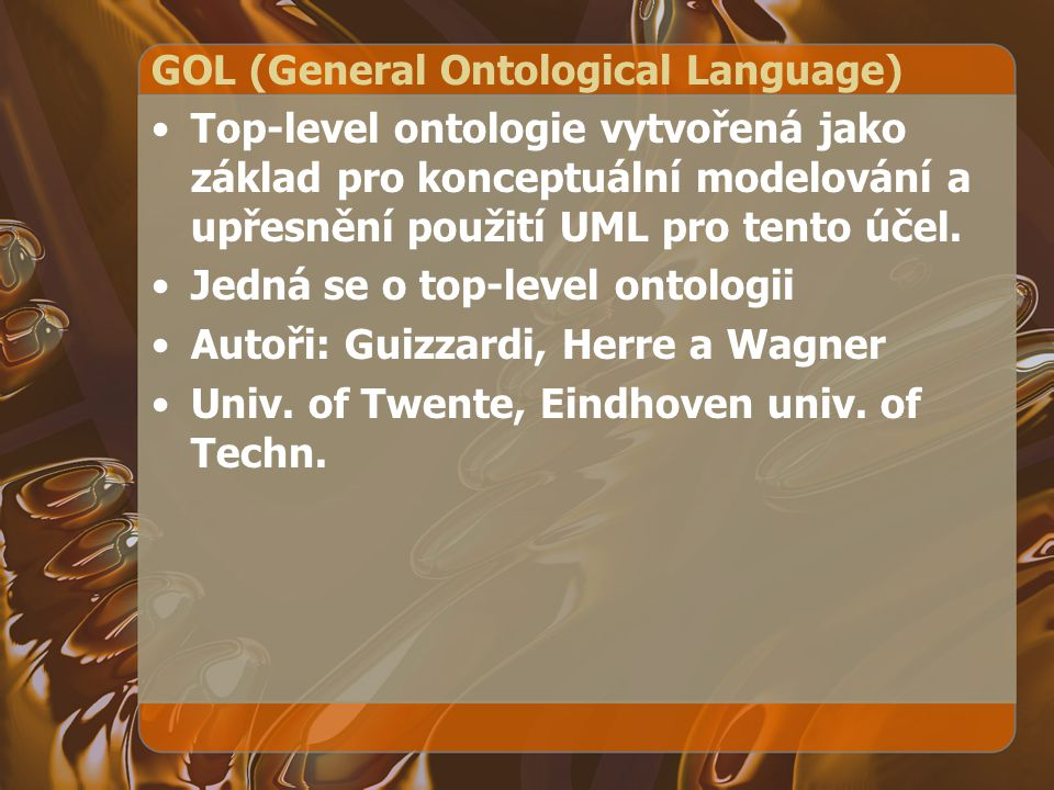GOL (General Ontological Language)