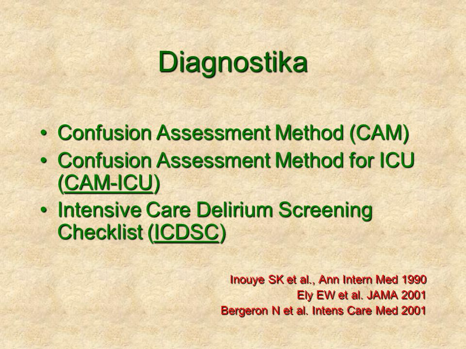 Diagnostika Confusion Assessment Method (CAM)