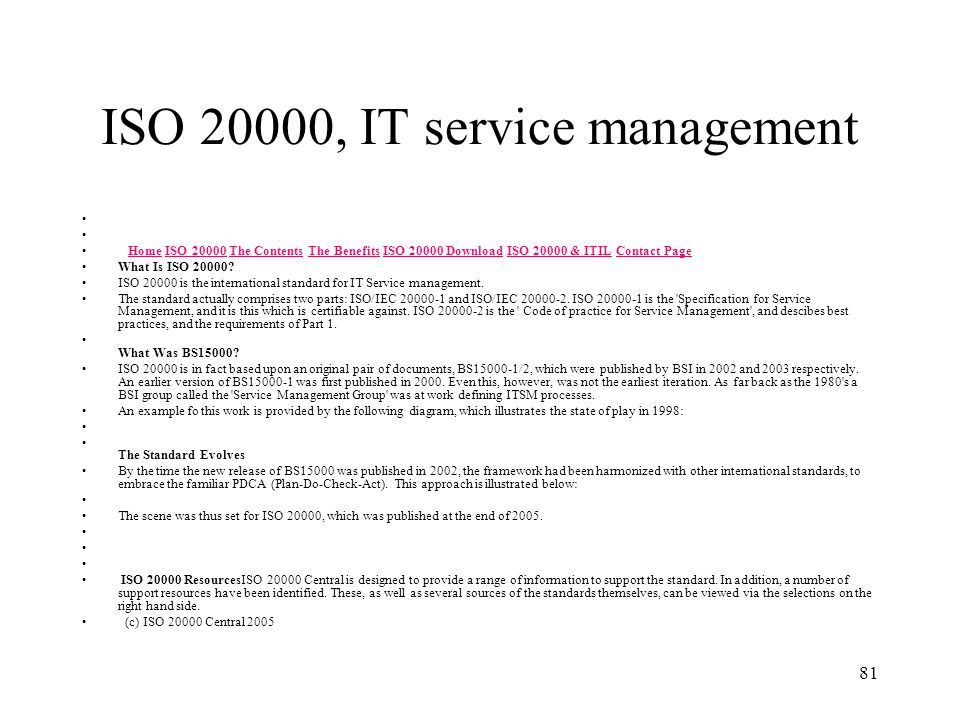 ISO 20000, IT service management