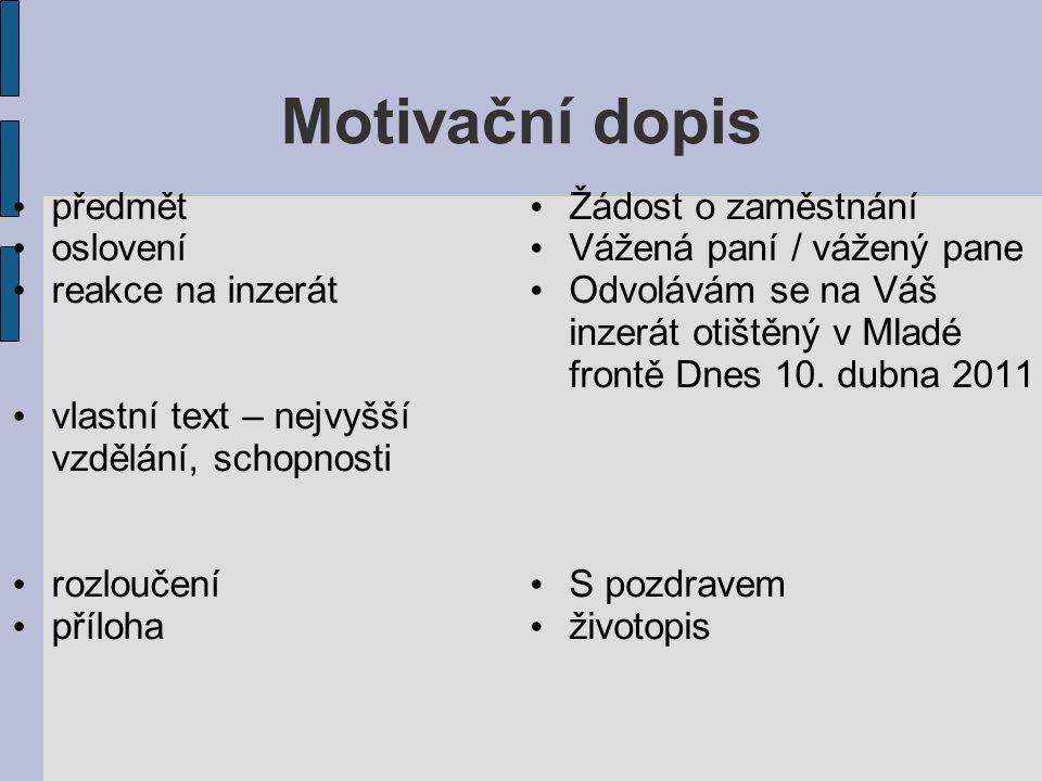 Motivacni Dopis Centrum Pro Virtualni A Moderni Metody A Formy