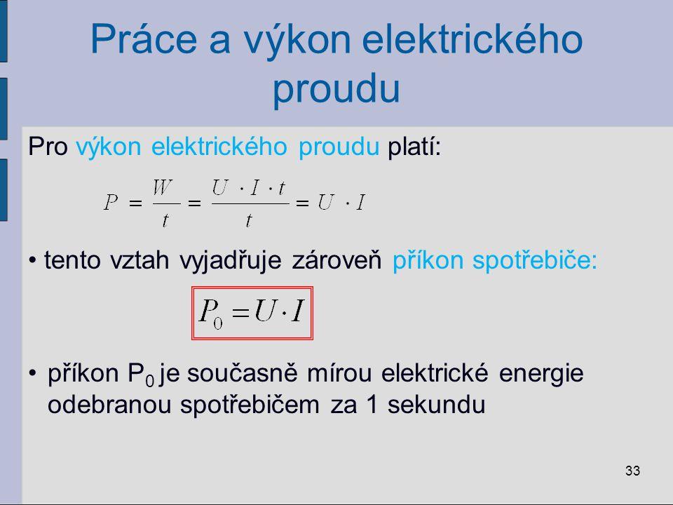 Práce a výkon elektrického proudu