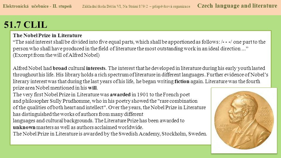51.7 CLIL The Nobel Prize in Literature