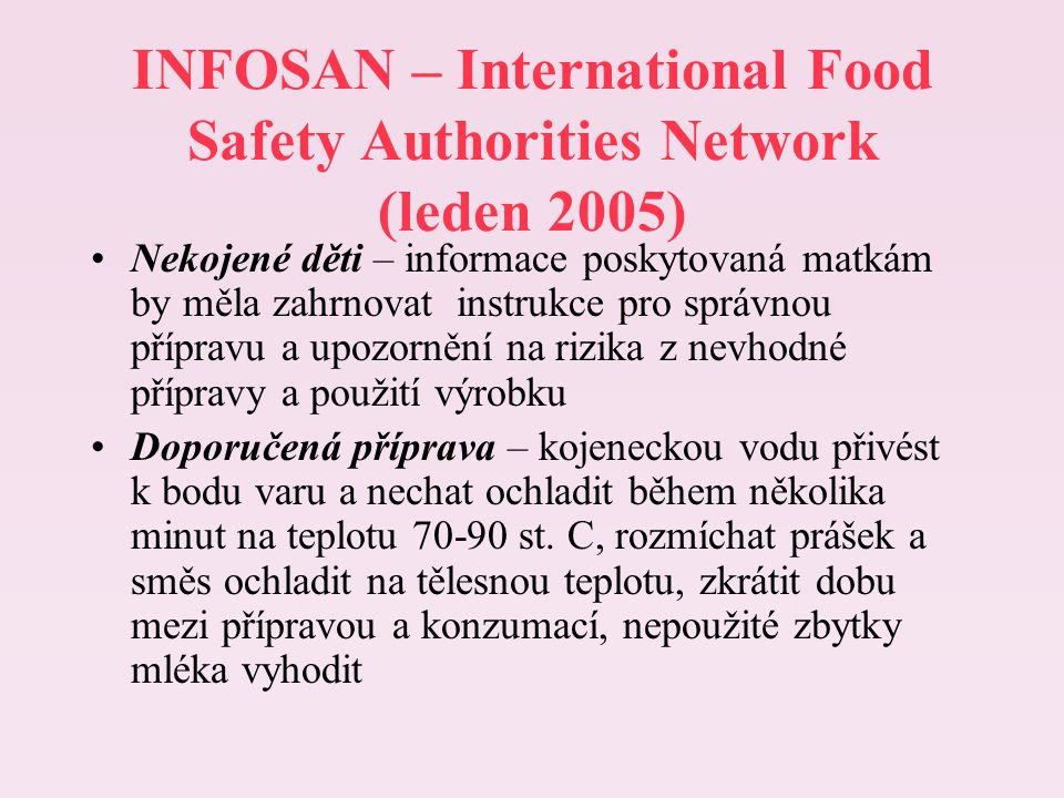 INFOSAN – International Food Safety Authorities Network (leden 2005)