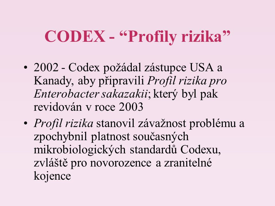 CODEX - Profily rizika