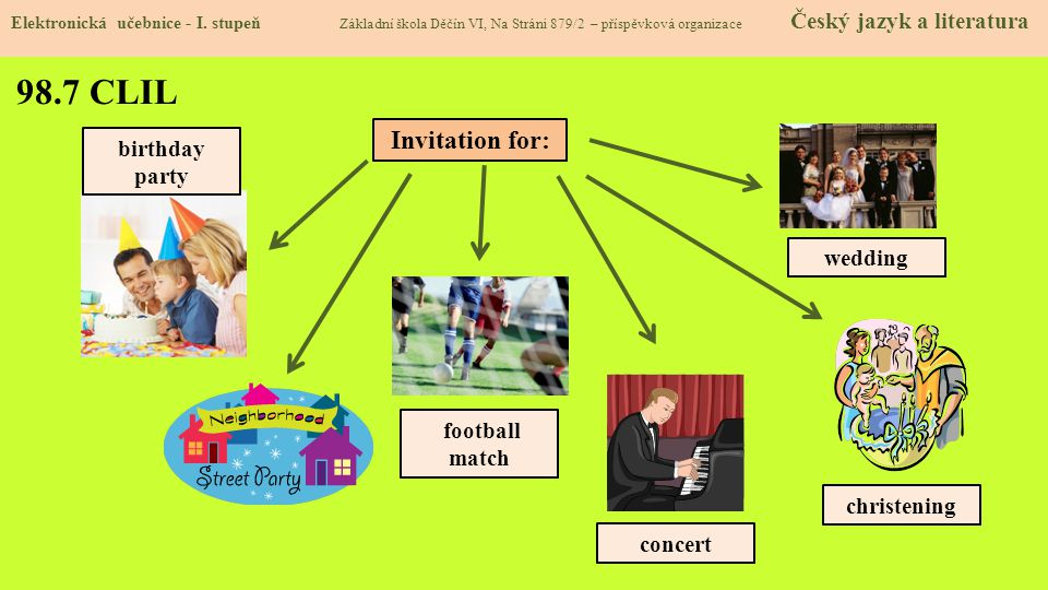 98.7 CLIL Invitation for: birthday party wedding football match