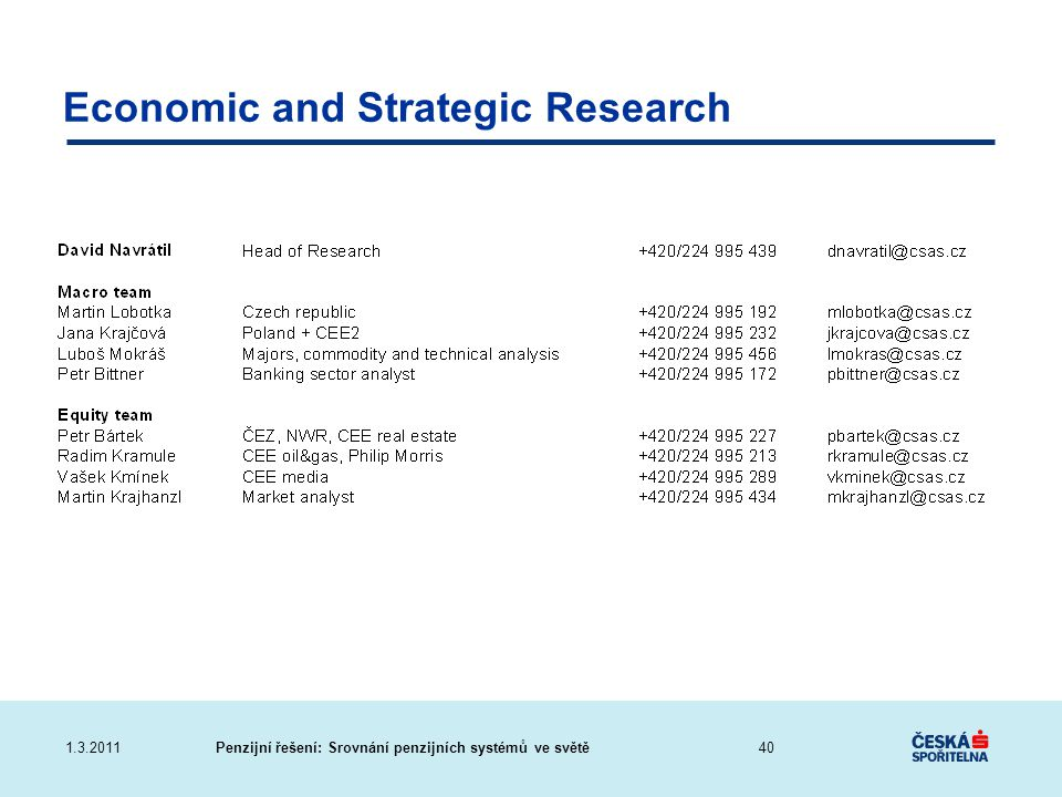 Economic and Strategic Research