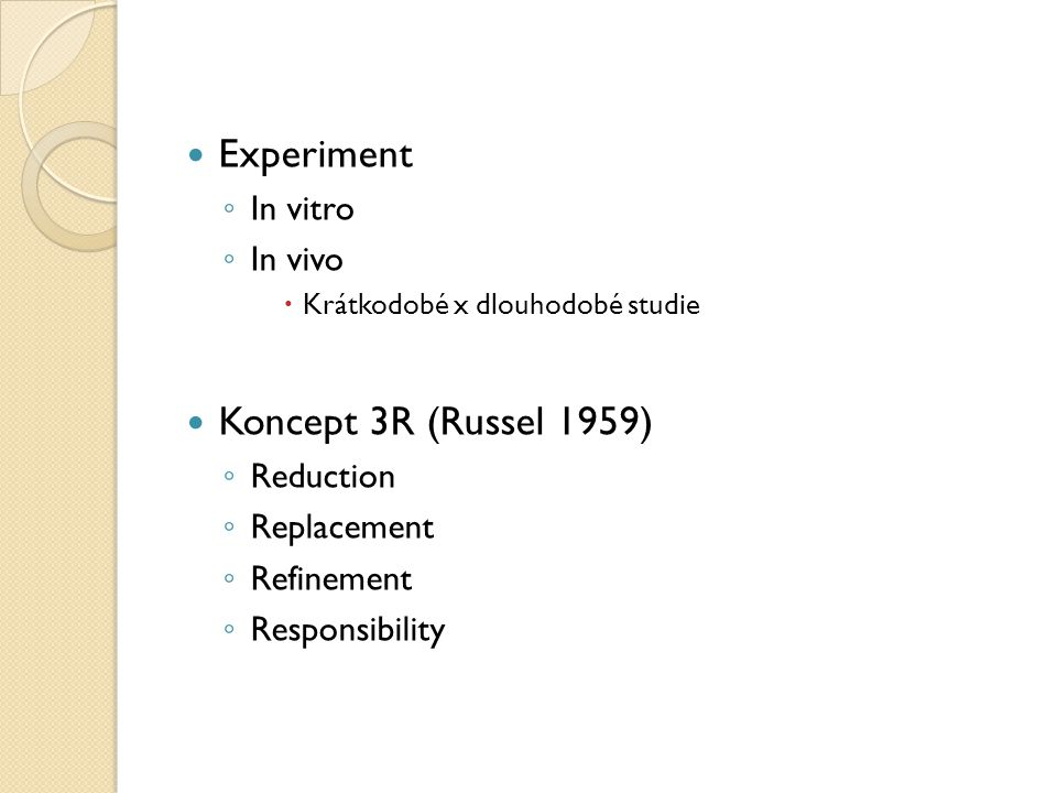 Experiment Koncept 3R (Russel 1959) In vitro In vivo Reduction