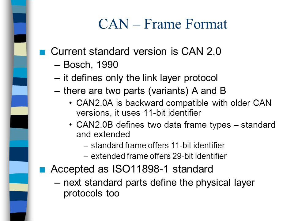 CAN – Frame Format Current standard version is CAN 2.0