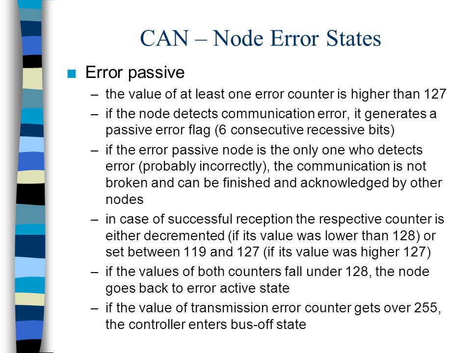 CAN – Node Error States Error passive