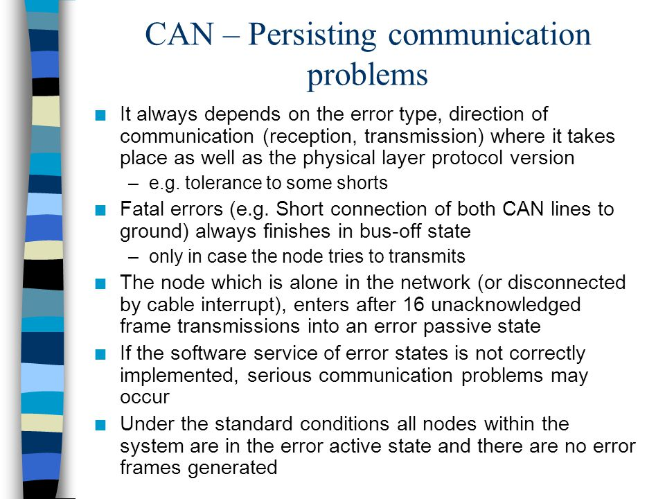 CAN – Persisting communication problems