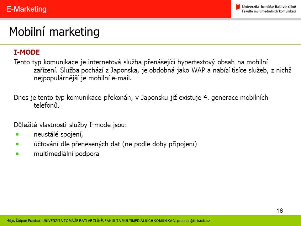 Mobilní marketing E-Marketing I-MODE