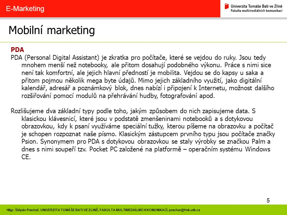 Mobilní marketing E-Marketing PDA