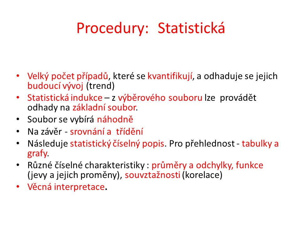 Procedury: Statistická